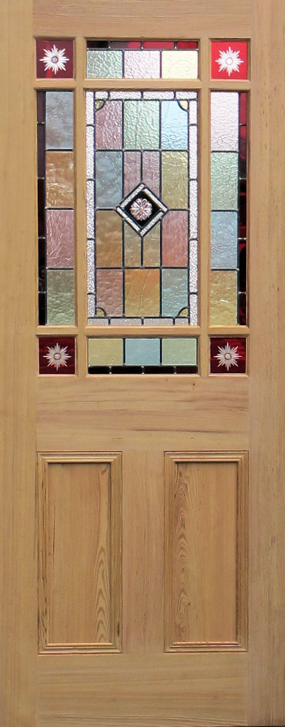 Pitch pine or Oak door with red glory stars and antique glass leaded lights & 9 pane Victorian style stained glass doors pezcame.com