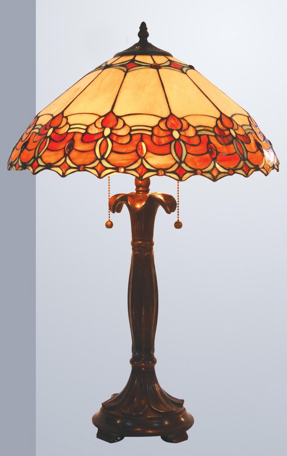 Burnt Orange Beige Jewelled Tiffany Lamp Collection